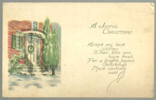 Joyful Christmas Postcard With Snowy Doorway and Tree