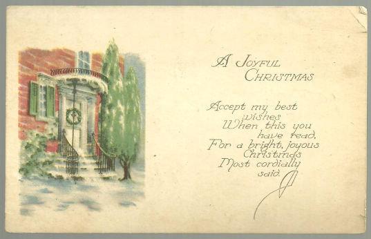 Joyful Christmas Postcard With Snowy Doorway and Tree