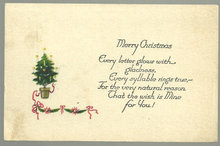 Merry Christmas Postcard With Small Christmas Tree 1923