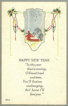 A Happy New Year Postcard With Snowy Red House