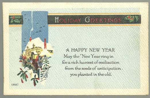 A Greetings Happy New Year Postcard With Snowy House