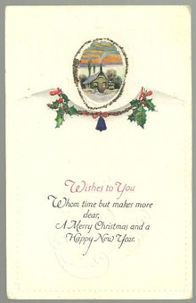 Merry Christmas and Happy New Year Postcard with House