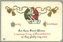Merry Christmas Card with Santa Claus and Gold Bells