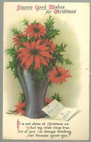 A Merry Christmas Postcard with Vase of Pointsettias