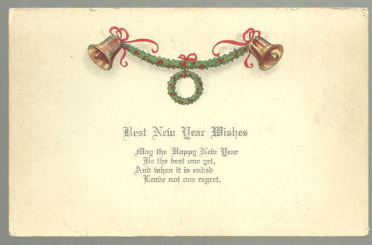 Best New Year Wishes Postcard with Golden Bells