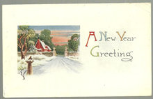 A New Year Greetings Postcard with Snowy Red House