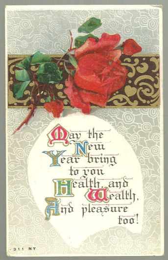 Victorian New Year Postcard with Red Rose and Gold
