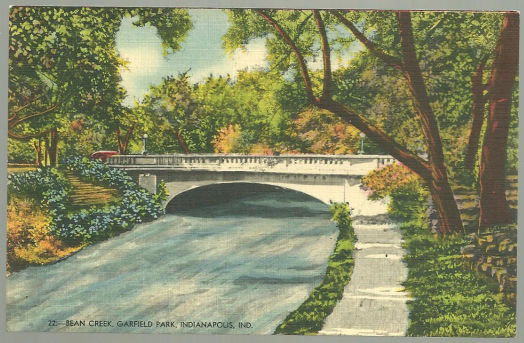 Postcard of Bean Creek, Garfield Park, Indianapolis, IN