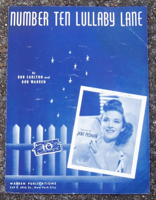 Number Ten Lullaby Lane Sung by Jane Fromann 1940 Music