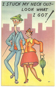 Comic Postcard of Lovely Courting Couple