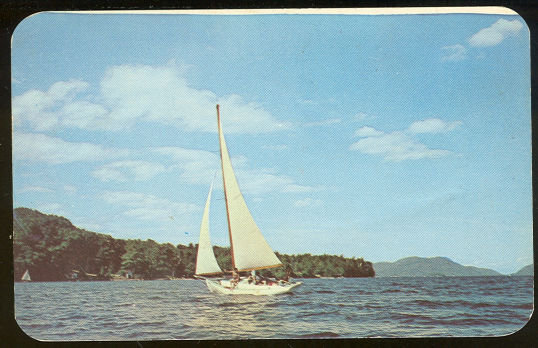 Postcard Sailing on Lakes in Pocono Mountains, PA 1951