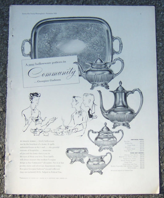 Community Georgian Gadroon Hollowware 1953 Magazine Ad