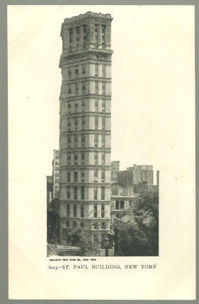 Undivided Postcard of St. Paul Building, New York, NY