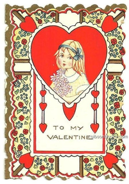 Vintage Valentine Card with Little Girl Holding Flowers