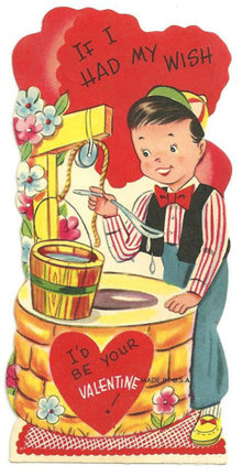 Vintage Valentine With Little Boy at a Wishing Well