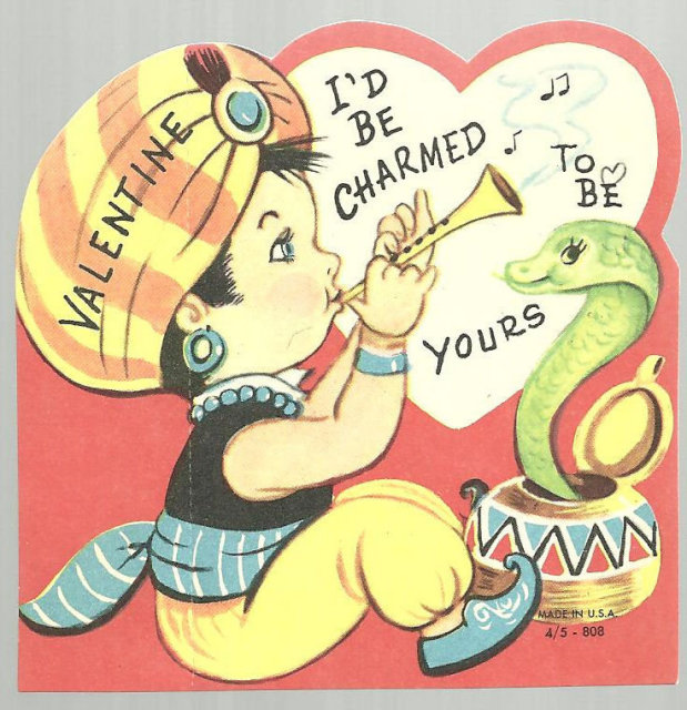 Vintage Valentine of Little Boy Snake Charmer