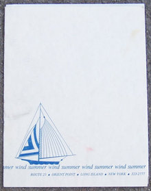 Vintage Menu From Summer Wind Restaurant Long Island, New York