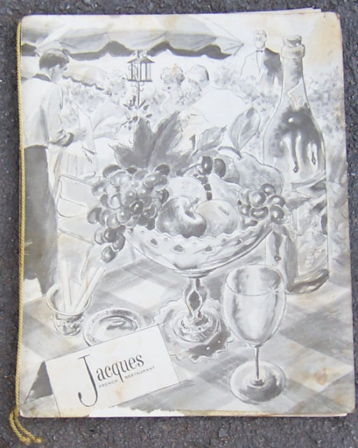 Vintage Menu From Jacques French Restaurant Chicago, Illinois