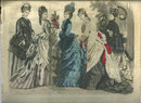 Colored Les Modes Parisiennes Fashion Print March 1876