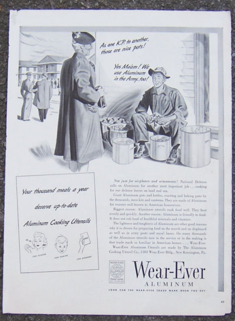 1941 Wear-Ever Aluminum Magazine WWII Advertisement