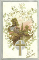 Easter Greetings Postcard with Pastoral Scene and Cross