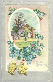 Easter Greetings Postcard Pastoral Scene and Chicks