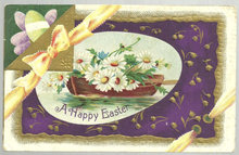 Happy Easter Postcard with Boat Filled with Flowers