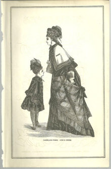 Carriage Dress & Girl's Dress 1876 Peterson's Magazine