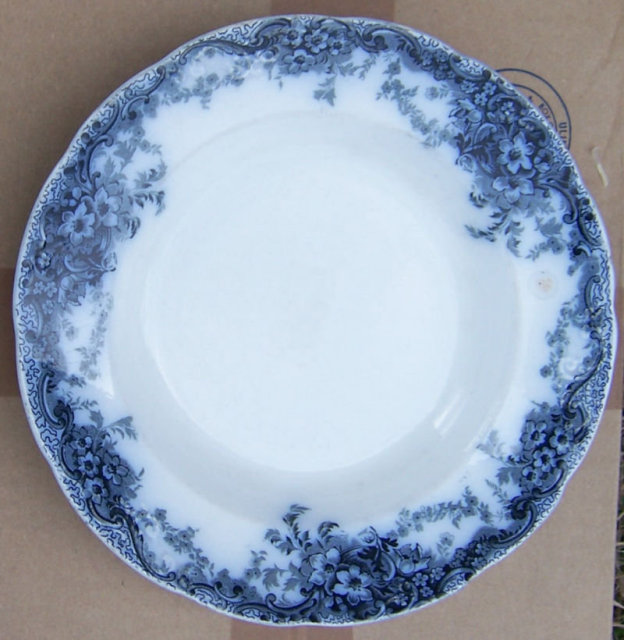 Antique Alfred Meakin China Medway Flow Blue Soup Bowl