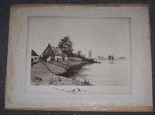 Vintage Art Publishing Print Cottage Along Lake Signed