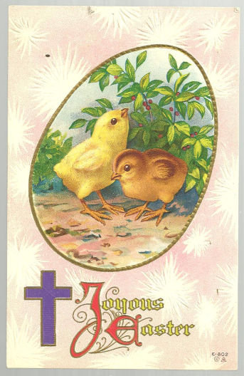 Joyous Easter Postcard with Two Chicks and Purple Cross