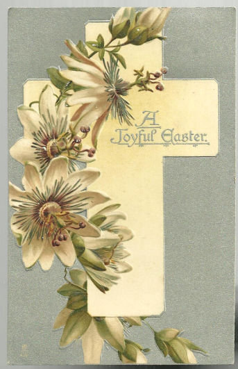 Joyous Easter Postcard with Cross with Passion Flowers