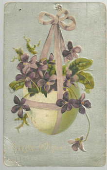 Easter Wishes Postcard with Egg Basket with Violets