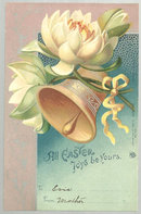 Undivided Postcard Easter Joys with Bell and Flowers