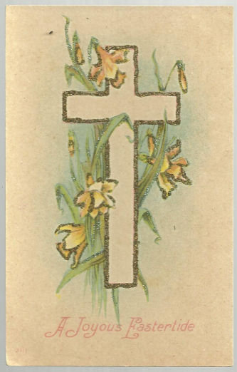 Joyous Eastertide Postcard with Cross and Daffodils