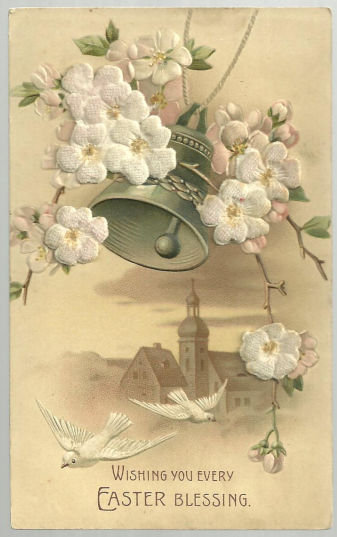 Easter Blessing Postcard With Fuzzy Flowers and Bell