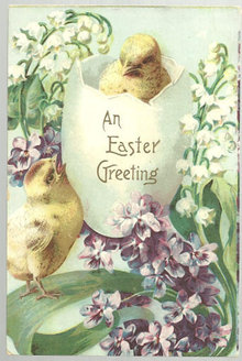 Easter Greetings Postcard with Two Chicks in a Open Egg