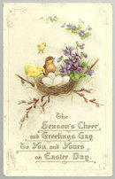Vintage Easter Greetings Postcard with Bird's Nest