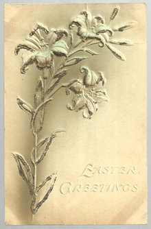 Embossed Easter Greetings Postcard with Lilies