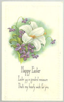 Happy Easter Blessing Postcard with Lily and Violets
