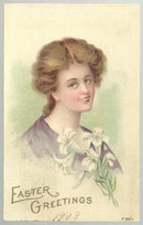 Easter Greetings Postcard with Lovely Lady with Lilies