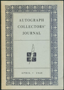 Autograph Collectors Journal April, 1949 History