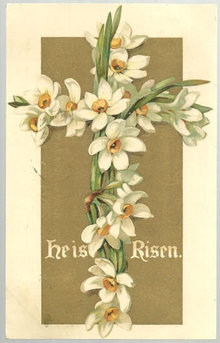 Undivided Easter Postcard with Floral Cross He is Risen