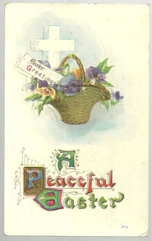 Peaceful Easter Postcard with Floral Basket and Cross