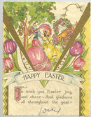 Happy Easter Greeting Card with Two Lovely Maidens