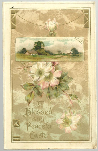 Blessed and Peaceful Easter Postcard Pastoral Scene