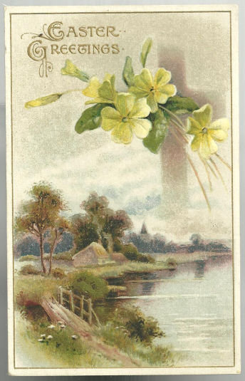 Easter Greetings Postcard with House Along Lake and Cross