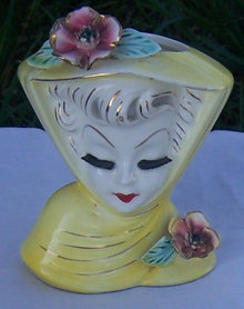 Vintage Lady in Yellow Head Vase with Roses June