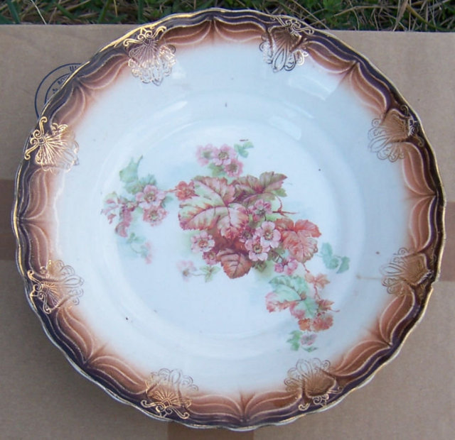 Lamberton China Brown Bowl with Begonias in Center