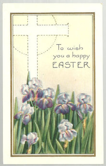 Vintage Happy Easter Postcard with Irises and Cross